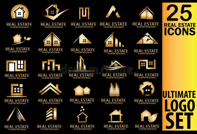 Ensemble de logo d'or d'immobiliers illustration stock