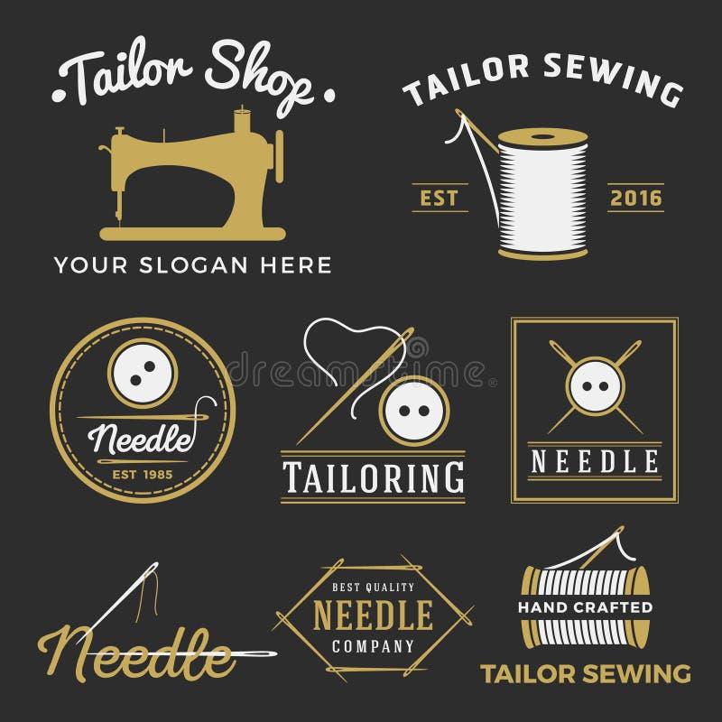 Ensemble de logo d'emblème de boutique de tailleur de vintage illustration stock