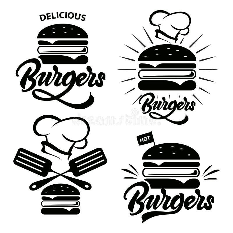 Ensemble de logo d'hamburger avec le lettrage Emblème, icône, label pour le restaurant ou conception de café Hamburger marquant a illustration stock