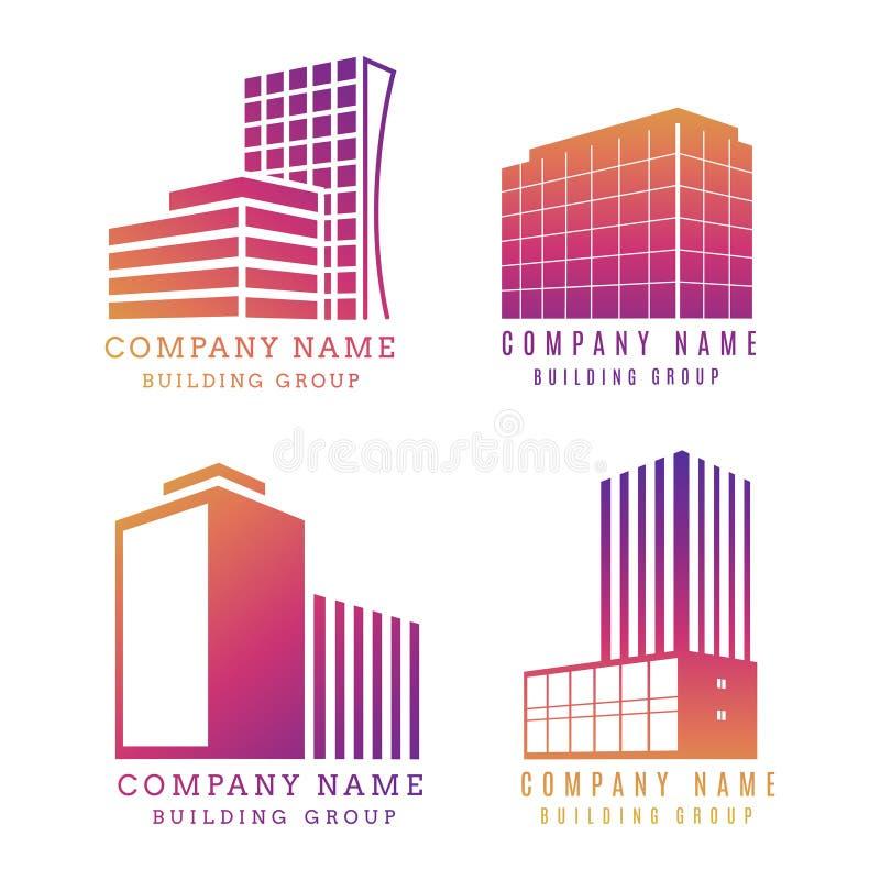 Ensemble de logo d'immobiliers Conception moderne d'emblème de bâtiment de vecteur illustration de vecteur