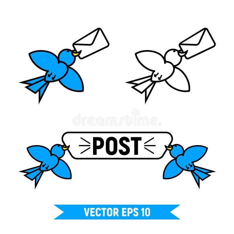 ensemble de logo d'oiseaux de courrier illustration stock