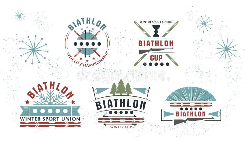 Ensemble de logo de biathlon Illustration de vecteur Le sport d'hiver d'isolement badges la collection pour la conception illustration stock