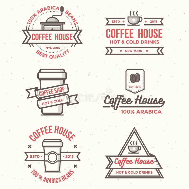 Ensemble de logo de café, insignes, bannière - dirigez l'illustration illustration de vecteur