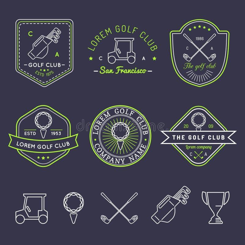 Ensemble de logo de golf de vecteur Collection linéaire d'illustrations de club de sports pour des icônes, des insignes et des la illustration stock