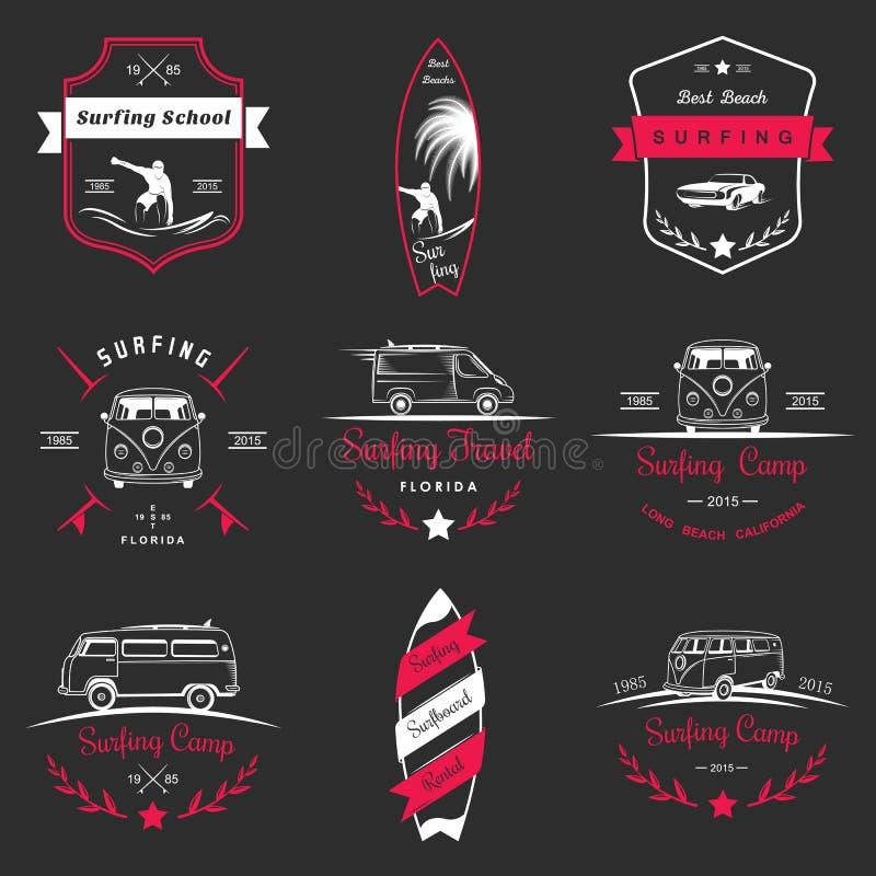 Ensemble de logo et d'insignes de ressac de vecteur illustration libre de droits