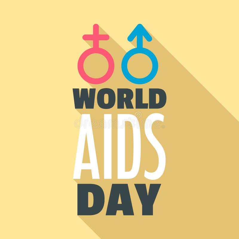 Ensemble de logo de Journée mondiale contre le SIDA d'humanité, style plat illustration stock