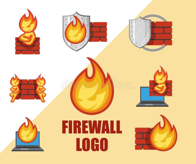 Ensemble de logo de pare-feu Logo de protection Emblème de sécurité de Cyber illustration libre de droits