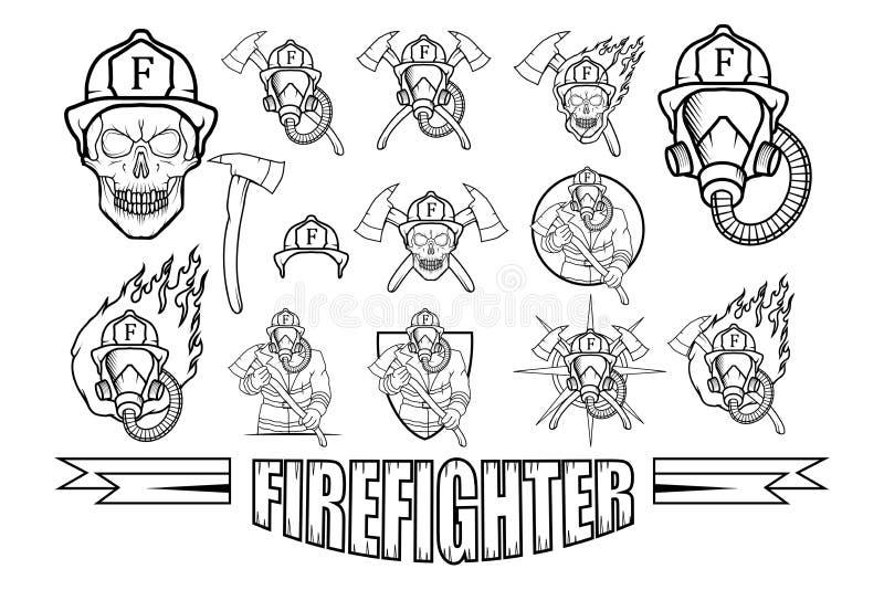 Ensemble de logo de sapeur-pompier illustration stock