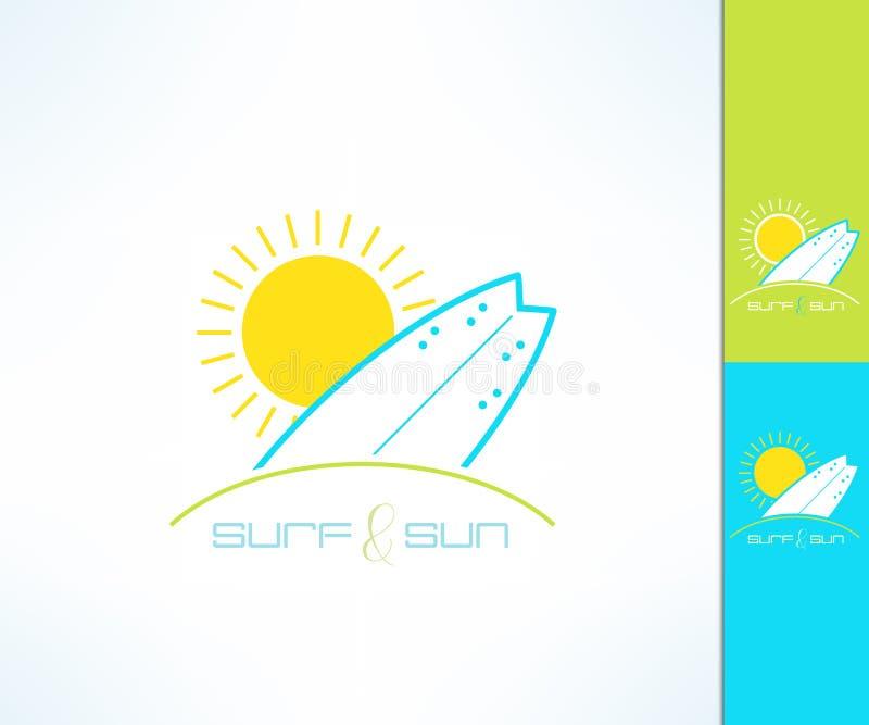 Ensemble de logo surfant de label de société de vecteur fait dans la conception propre et lumineuse moderne Copie de T-shirt de r illustration stock