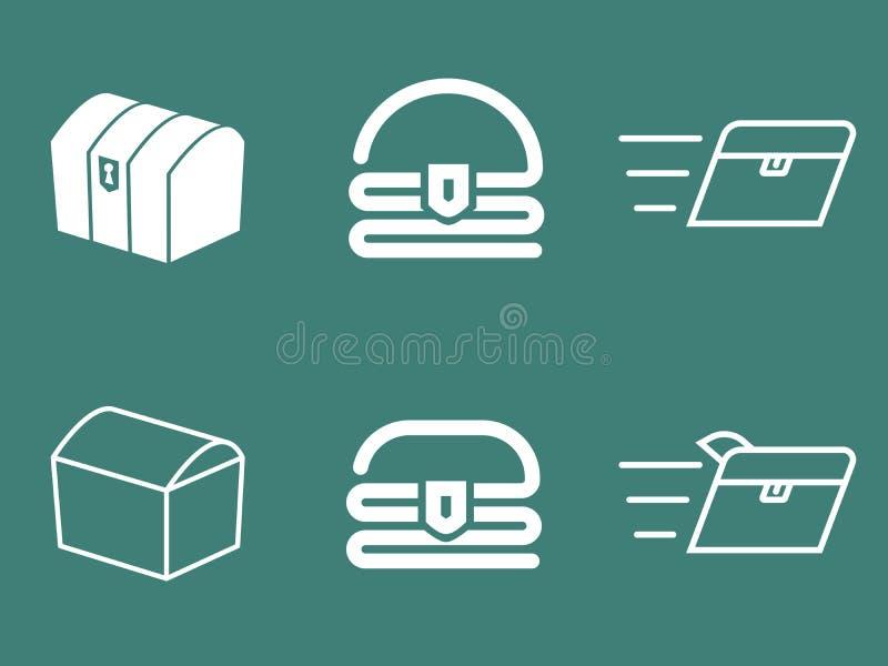 Ensemble de logo de vecteur de coffre au trésor images stock