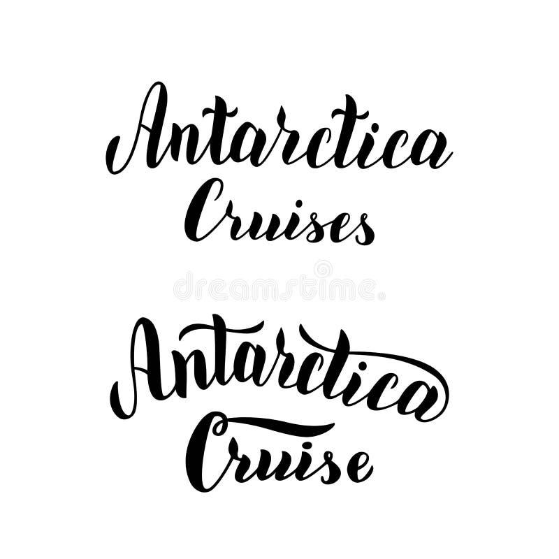 Ensemble de logo de visite de croisière de l'Antarctique Texte de inscription manuscrit à la mode Icône de typographie pour l'age illustration stock