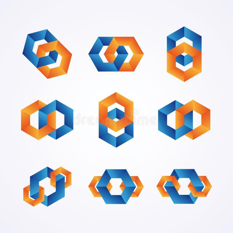 Ensemble de logos à chaînes créatifs illustration stock
