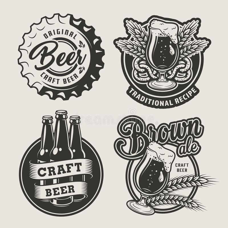 Ensemble de logos de brassage de cru illustration stock