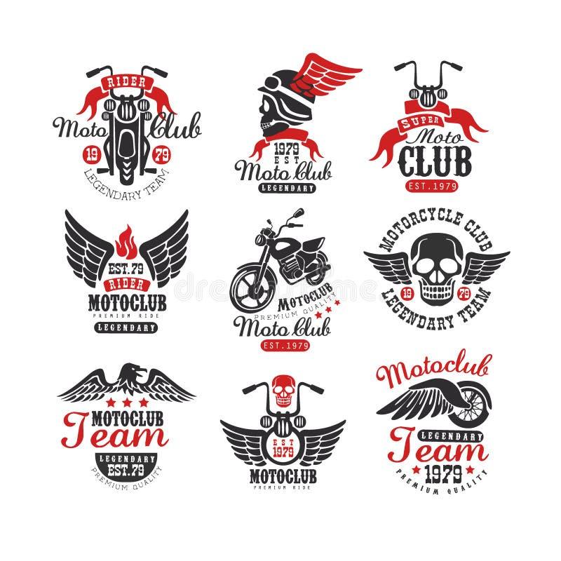 Ensemble de logos de club de moto de vintage, emblèmes, labels, insignes Éléments monochromes avec la motocyclette, crâne, aigle  illustration libre de droits