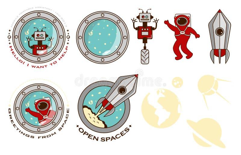 Ensemble de logos colorés, éléments de conception, robot, fusée, astronaute illustration de vecteur