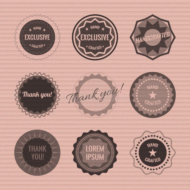 Ensemble de logos de cercle sur la texture de carton Ensemble de logos de cercle sur la texture de carton Vecteur courant illustration stock