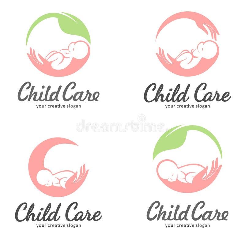 Ensemble de logos de la garde d'enfants, de la maternité et de la grossesse illustration libre de droits