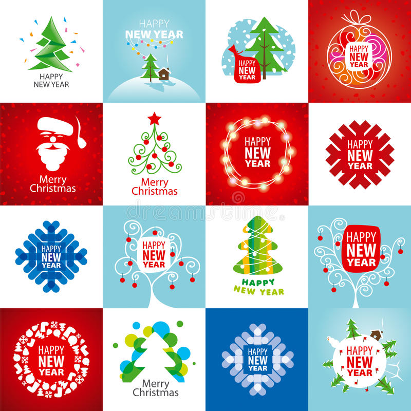 Ensemble de logos de vecteur pendant la nouvelle année illustration de vecteur