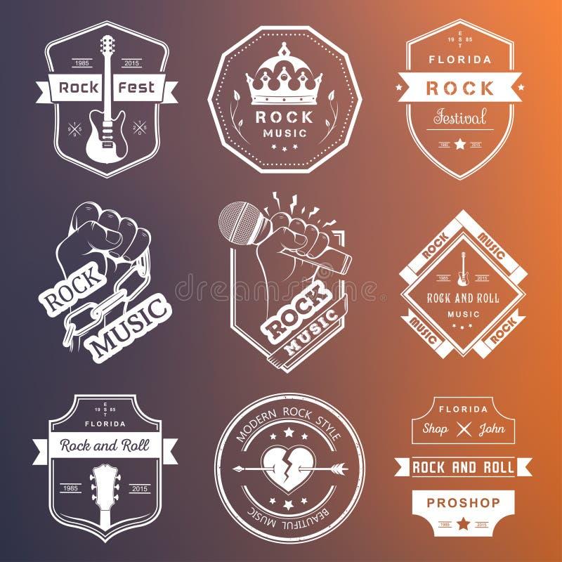 Ensemble de logos de vintage de la musique rock et du rock illustration libre de droits