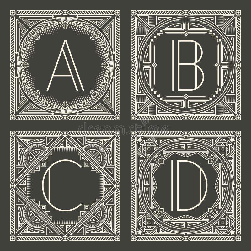 Ensemble de logos floraux et géométriques de vecteur de monogramme illustration libre de droits