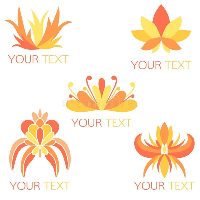 Ensemble de 5 logos floraux exotiques oranges illustration de vecteur