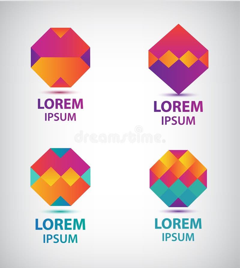 Ensemble de logos géométriques colorés d'abrégé sur vecteur illustration libre de droits