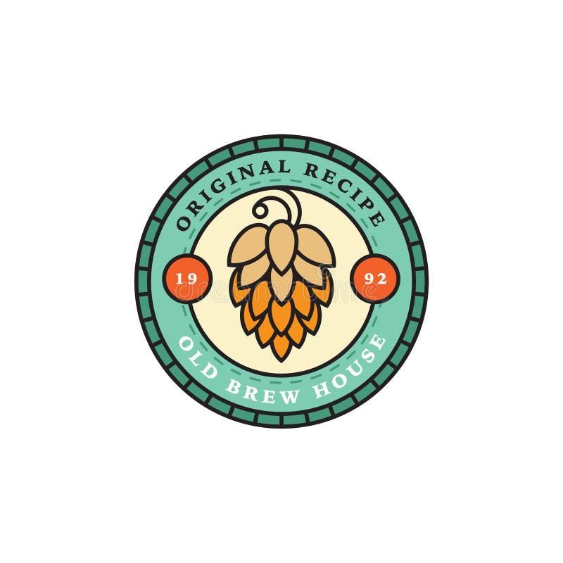 Ensemble de logos linéaires de brasserie Labels avec des bouteilles et des houblon illustration stock