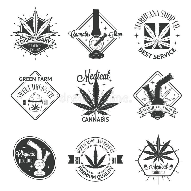 Ensemble de logos médicaux de marijuana Insignes de cannabis illustration stock