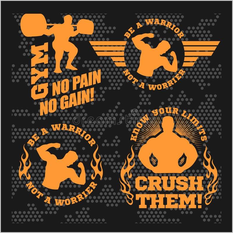 Ensemble de logos modernes de pièce de bodybuilding et de forme physique illustration libre de droits