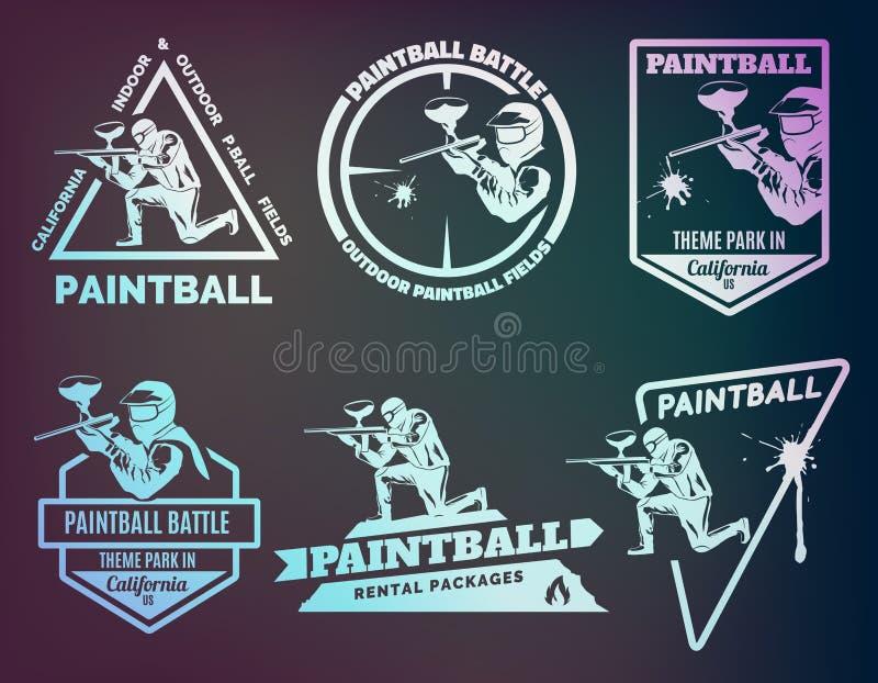 Ensemble de logos monochromes de paintball illustration libre de droits
