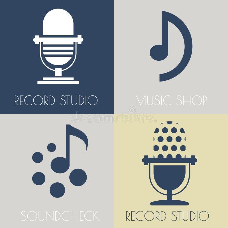 Ensemble de logos plats de musique illustration stock