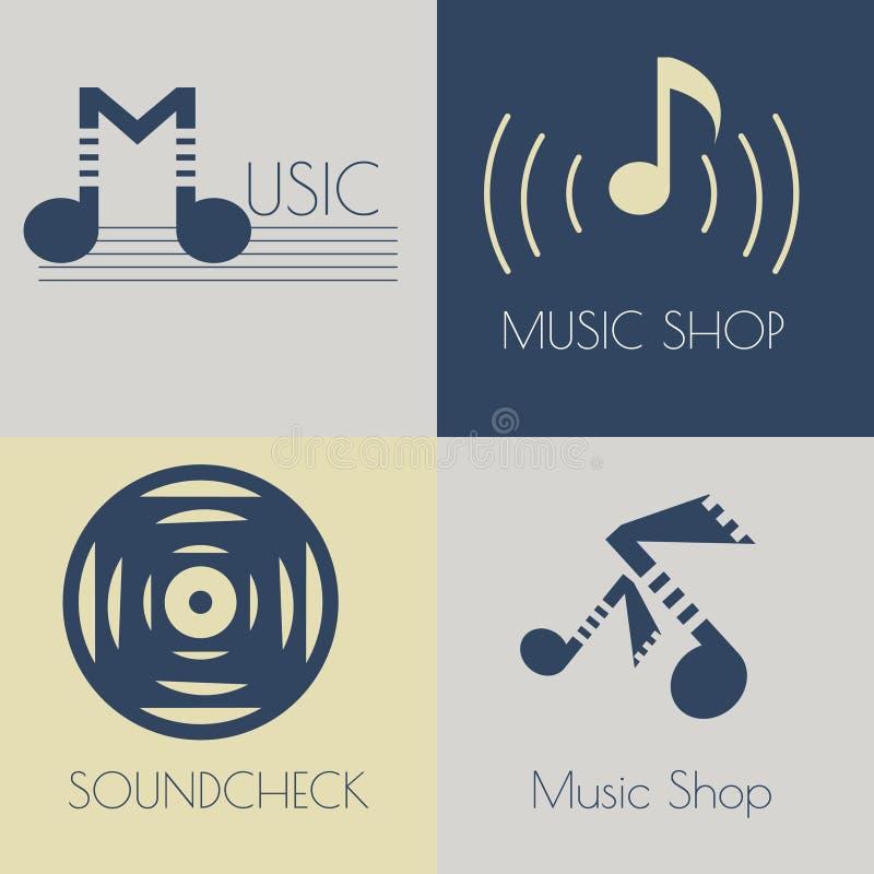 Ensemble de logos plats de musique illustration de vecteur