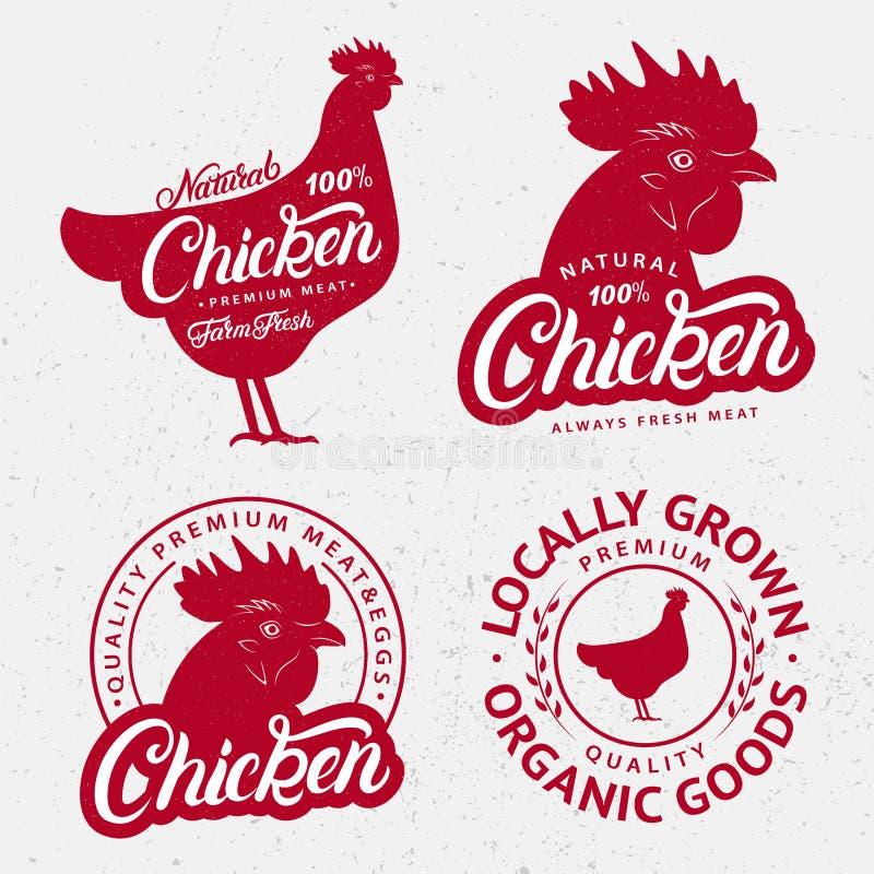 Ensemble de logos de poulet, labels, copies, affiches pour le boucher illustration stock