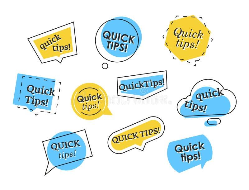 Ensemble de logos rapides colorés d'astuces illustration de vecteur