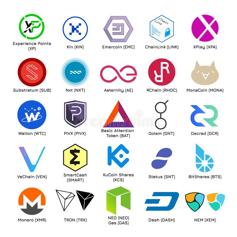 Ensemble de logos de vecteur de cryptocurrency populaire illustration stock