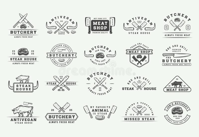 Ensemble de logos de viande, de bifteck ou de BBQ de boucherie de vintage, embl?mes, insignes, labels L'industrie graphique Illus illustration stock