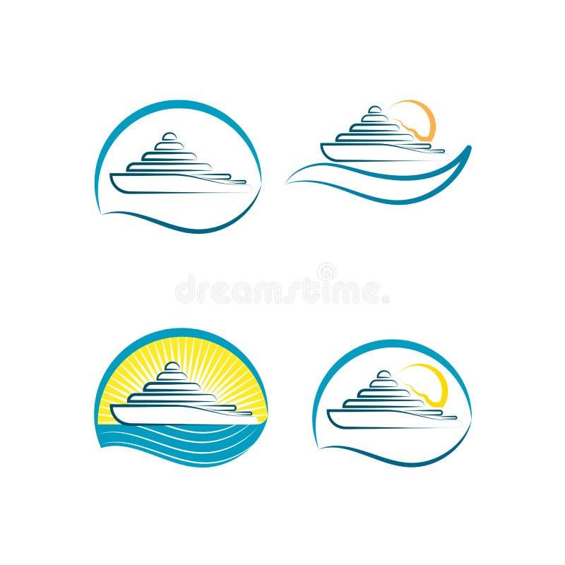 Ensemble de logos de yacht avec la vague de coucher du soleil et d'eau sur le backgroun illustration libre de droits