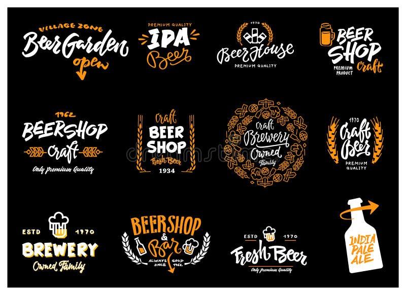 Ensemble de logotype de bière illustration libre de droits