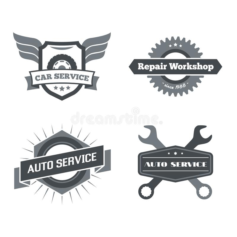 Ensemble de logotypes pour le mécanicien, garage, réparation de voiture, service illustration de vecteur