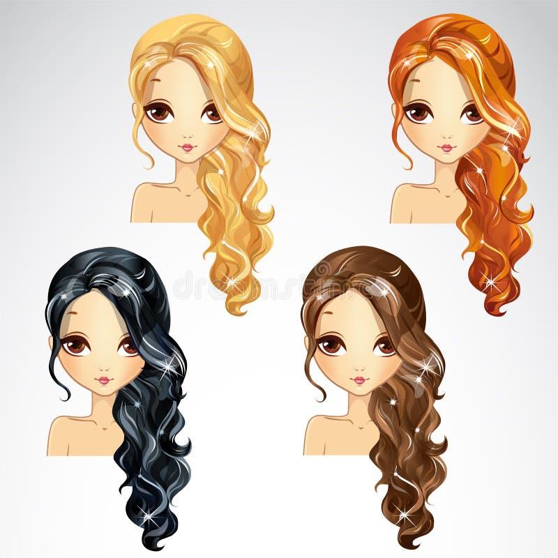 Ensemble de longs cheveux bouclés illustration de vecteur
