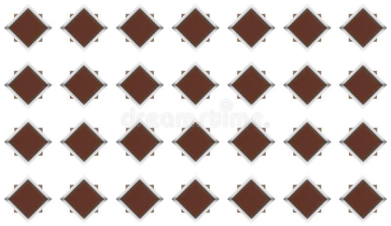 Ensemble de losanges de brun foncé avec le cadre brillant en métal et ligne grise modèle de ciment de modèle grunge sur le blanc illustration de vecteur