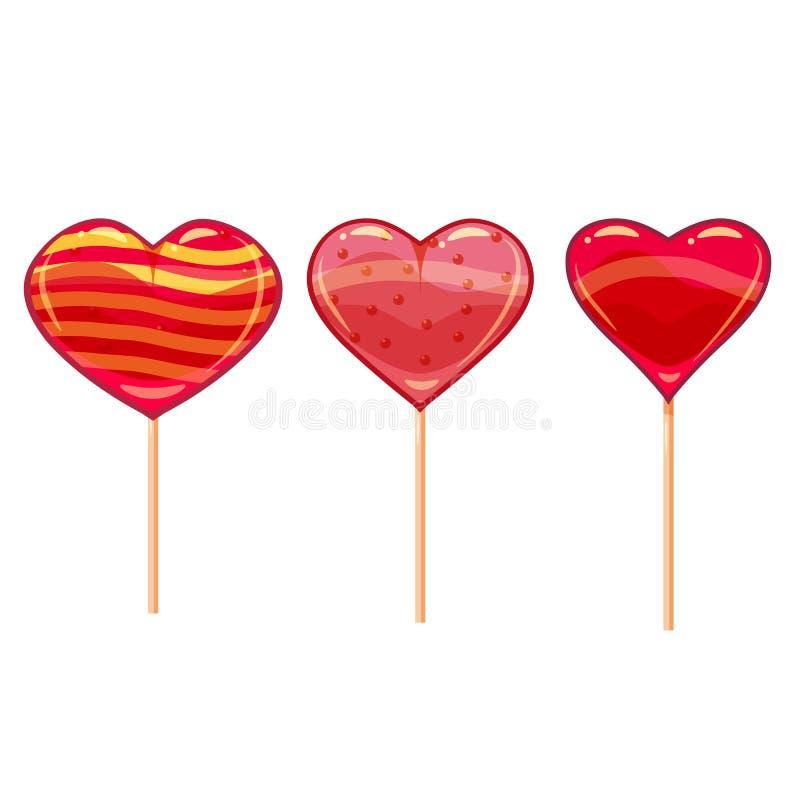 Ensemble de lucettes en forme de coeur colorées Bon pour la conception de Saint Valentin Style de bande dessinée, vecteur, d'isol illustration de vecteur