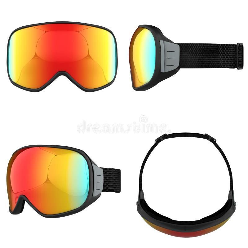 Ensemble de lunettes modernes de surf des neiges illustration stock