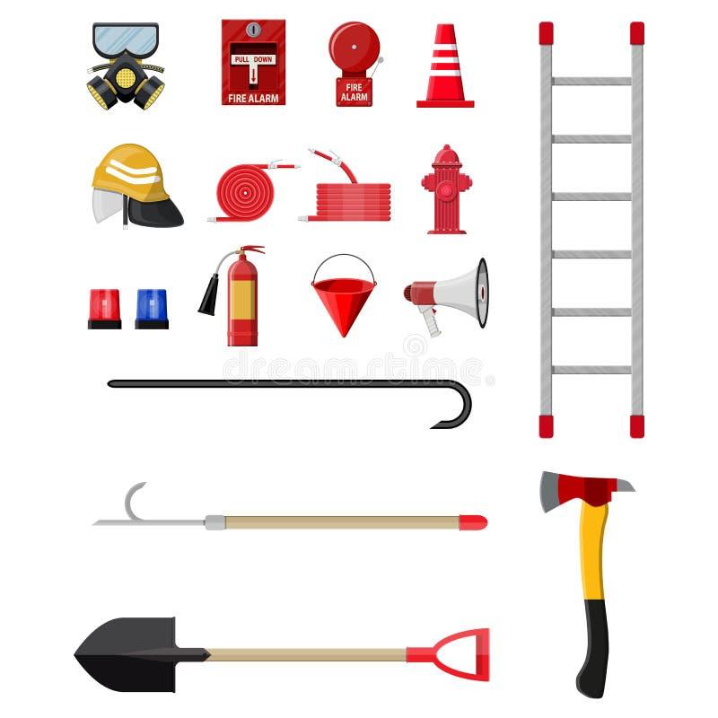 Ensemble de lutte contre l'incendie Équipement de lutte anti-incendie illustration stock