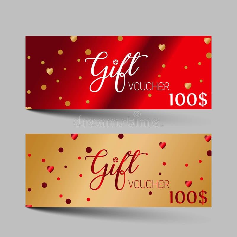 Ensemble de luxe de bons de cadeau de jour de valentines Conception rouge et d'or de la couleur deux, sur le fond gris Pour un il illustration libre de droits