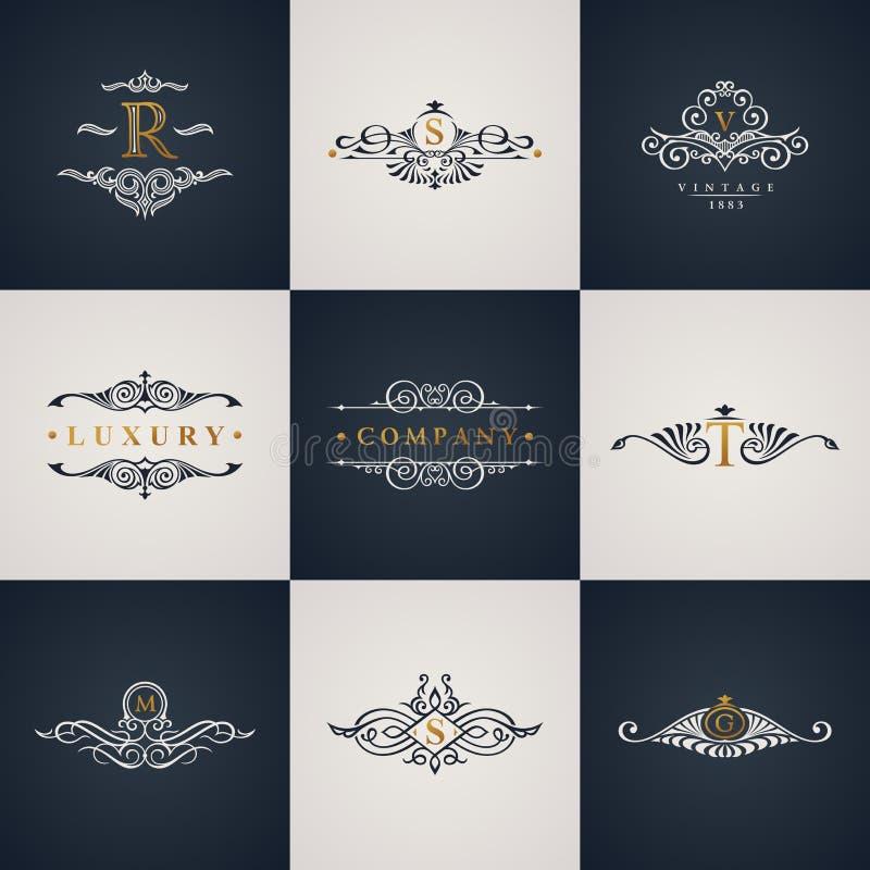 Ensemble de luxe de monogramme de logo Éléments royaux de flourishes de vintage Ornement calligraphique de symbole illustration stock