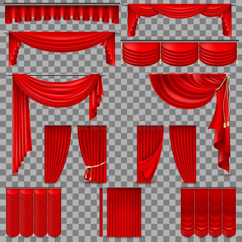 Ensemble de luxe de rideaux rouges en soie de velours ENV 10 illustration de vecteur