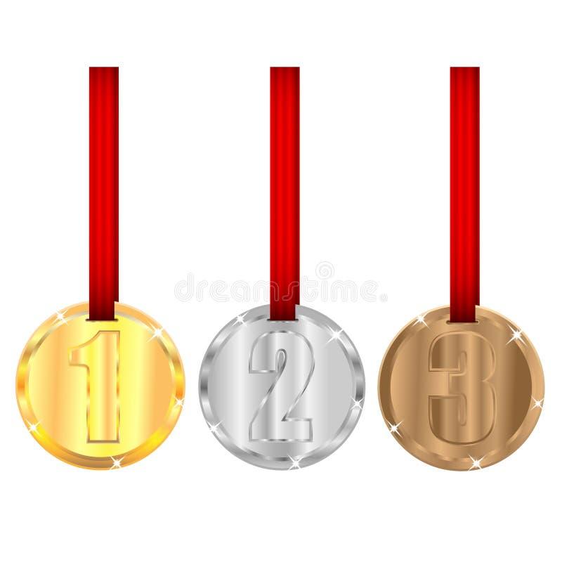 Ensemble de médailles avec les rubans rouges illustration stock