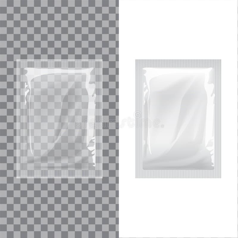 Ensemble de médecine humide de poche de chiffons de calibre d'aluminium vide d'emballage Café réaliste d'emballage de nourriture, illustration de vecteur