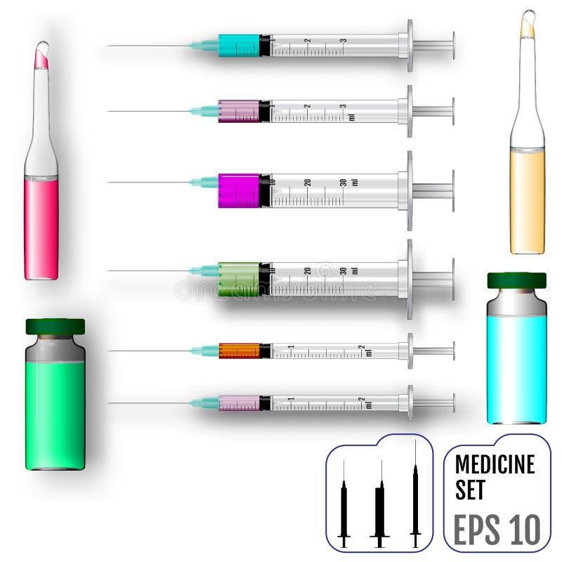 Ensemble de médecine Seringues, ampoules et pots réalistes avec le vaccin illustration de vecteur